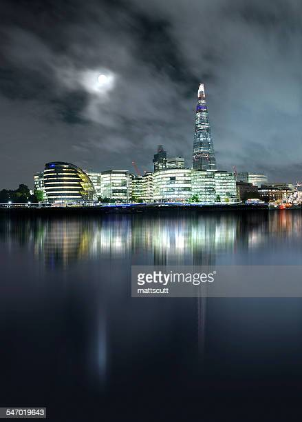 Moonlit More London, City Hall and the Shard, London, UK