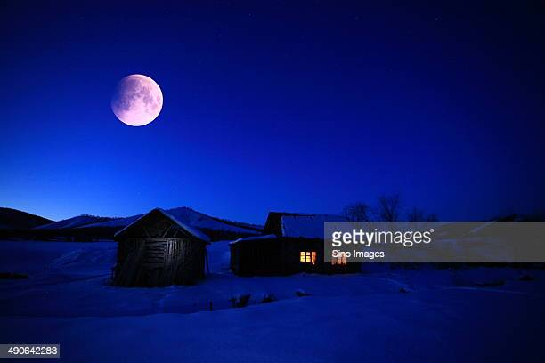 Moonlit Night of Grassland in Inner Mongolia,China