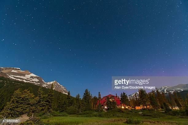 A moonlit nightscape taken in Banff National Park, Alberta Canada.
