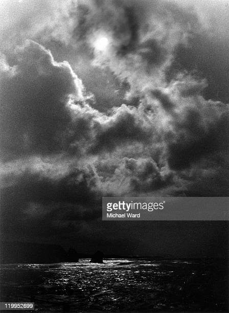 Moonlit storm over the sea at Freshwater Bay, Isle of Wight, Britain, 2002.