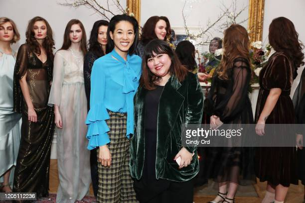 Moonlynn Tsai and Jasmine Chong pose with models after the Jasmine Chong runway show during New York Fashion Week on February 09 2020 in New York City