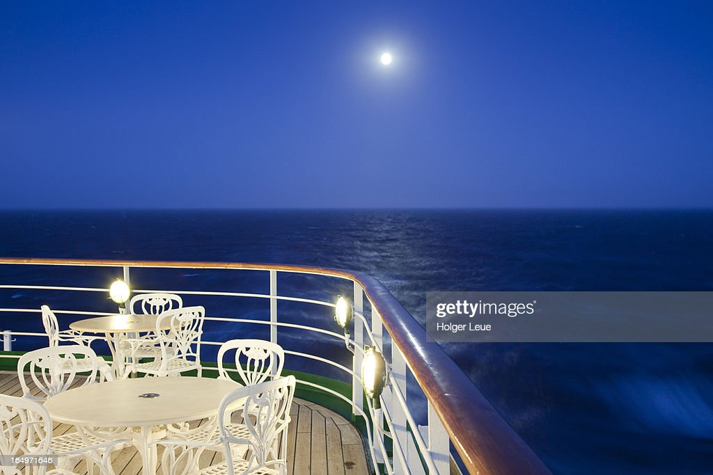 moonrise and deck of cruise ship ストックフォト getty images