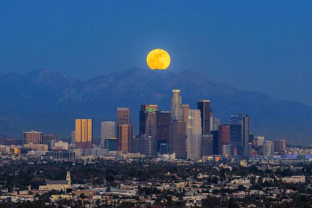 Moonrise At Los Angeles Wall Art