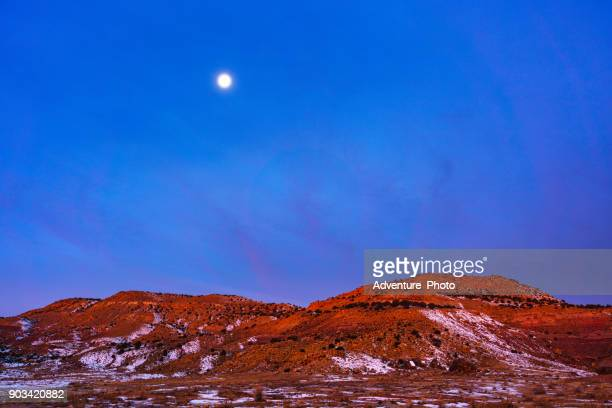 moonrise canyon landscape winter - fruita colorado stock pictures, royalty-free photos & images