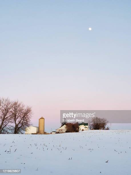 moonrise over a wisconsin farm in winter - vilas_county,_wisconsin stock pictures, royalty-free photos & images