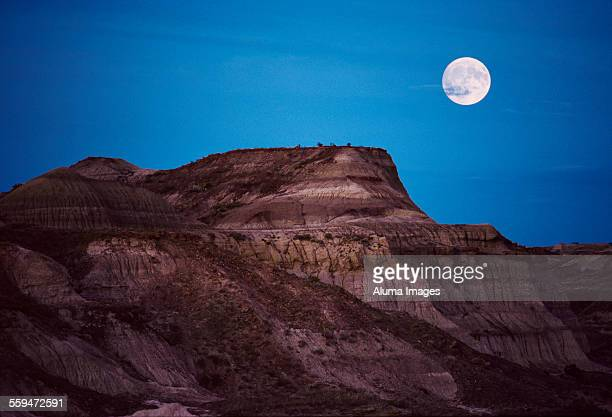 Moonrise over badlands
