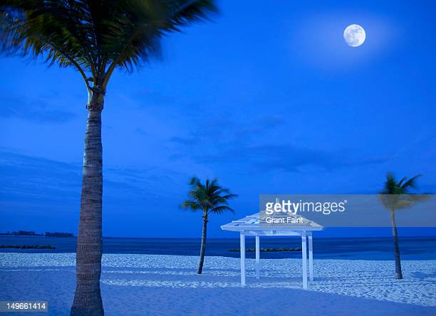 moonrise over beach at night, nassau - cable beach bahamas stock photos and pictures
