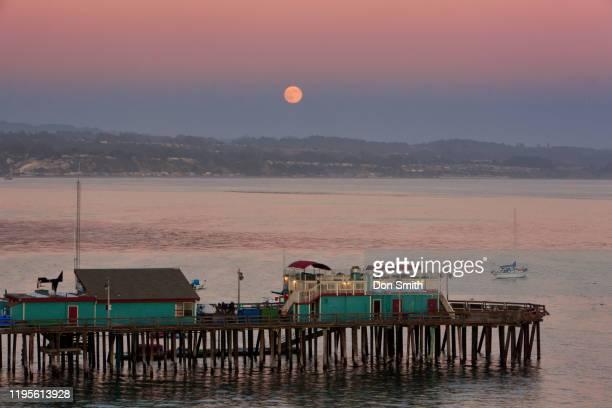 moonrise over captitola wharf - don smith stockfoto's en -beelden