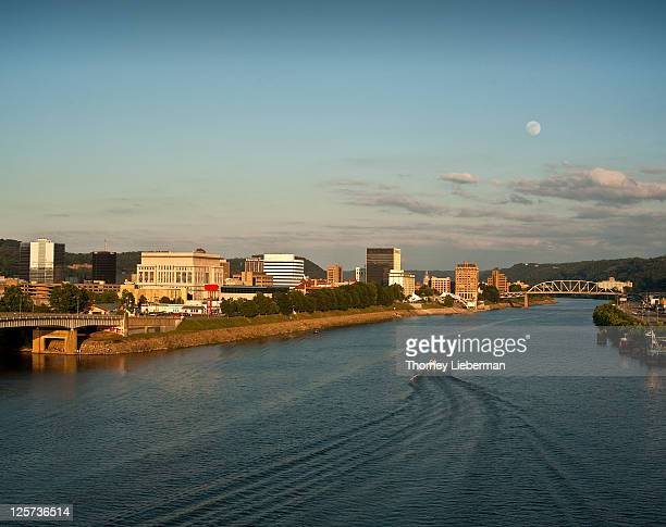 moonrise over city - charleston west virginia stock photos and pictures
