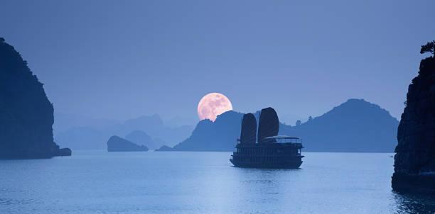 Moonrise over Halong Bay, at dusk