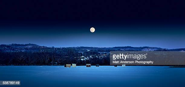 moonrise over onalaska, wisconsin - snow moon stock pictures, royalty-free photos & images
