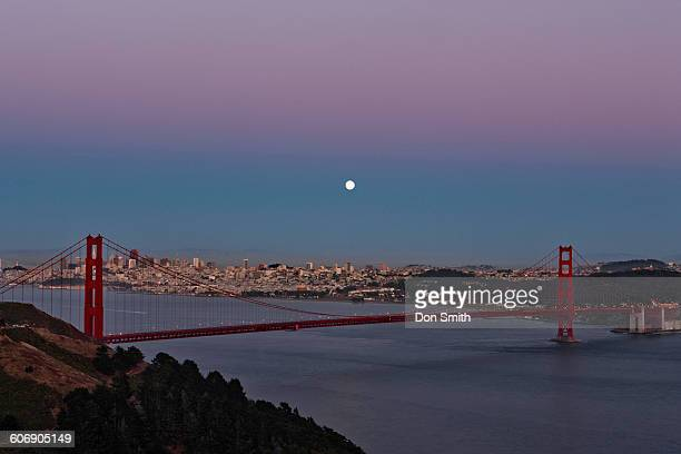 moonrise over san francisco - don smith stock pictures, royalty-free photos & images
