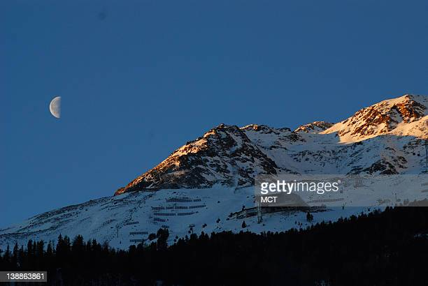 Moonrise over the Austrian Alps as seen from the Central Spa Hotel Soelden