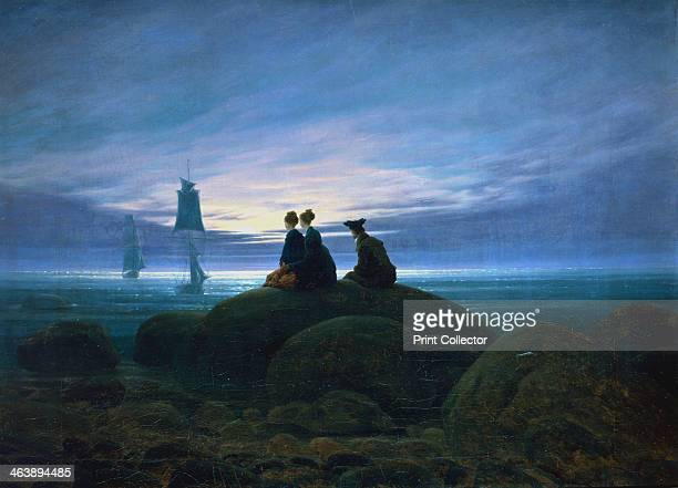 'Moonrise over the Sea' 1774 A man and two women sit on a rock looking out to sea at two sailing vessels silhouetted against the sky which is lit by...