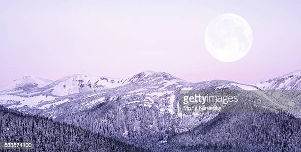 moonrise - winter solstice stock photos and pictures
