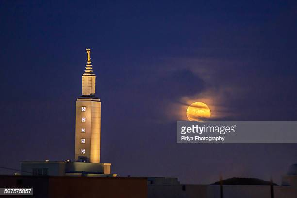 Moonrise with church