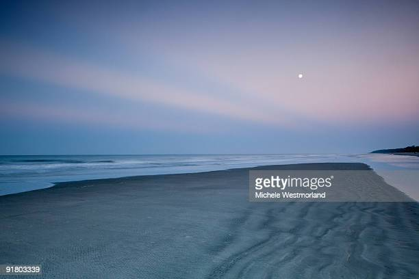 moonset beach scene, hilton head - hilton head stock pictures, royalty-free photos & images