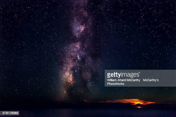 moonset & milky way - william moon stock pictures, royalty-free photos & images