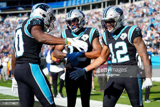 J Moore of the Carolina Panthers celebrates a touchdown during the first quarter during their game against the Washington Redskins at Bank of America...