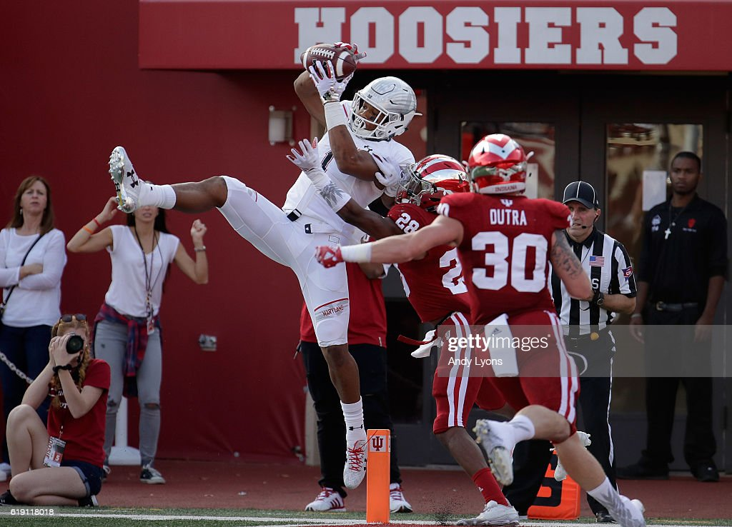 D.J. Moore #1 of the Maryland Terrapins reaches up to catch a touchdown pass in the game against the Indiana Hoosiers at Memorial Stadium on October 29, 2016 in Bloomington, Indiana.