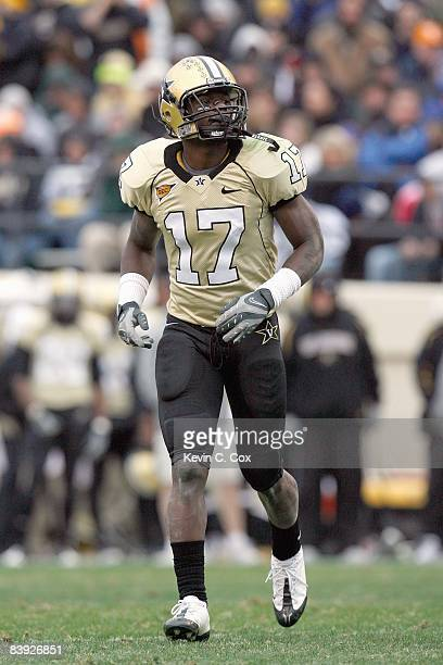 Moore of the Vanderbilt Commodores jogs on the field during the game against the Tennessee Volunteers at Vanderbilt Stadium on November 22, 2008 in...