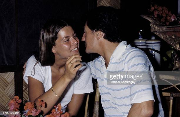 Moorea French Polynesia 22 July 1978 Princess Caroline of Monaco with her first husband Philippe Junot during their honeymoon in French Polynesia in...