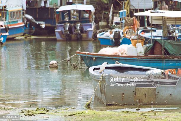 Moored Boats In Harbor