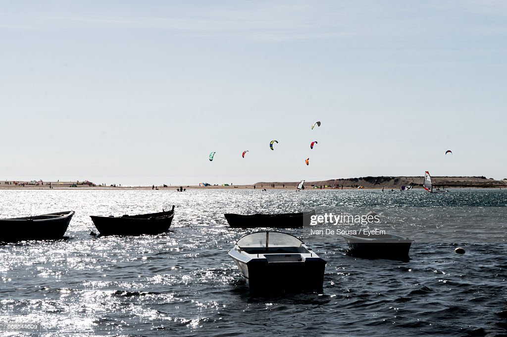 Moored Boats On Sea Against Sky : Stock Photo