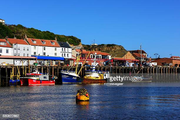 Moored fishing boats in Whitby Harbour