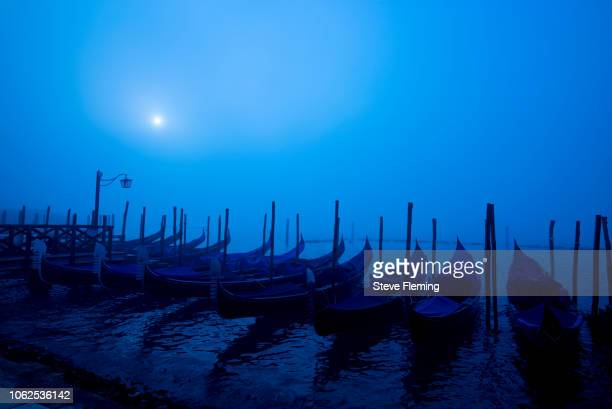 Moored gondolas on a winters morning, Venice, Italy.