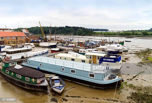 Moored houseboats at Woodbridge, Suffolk