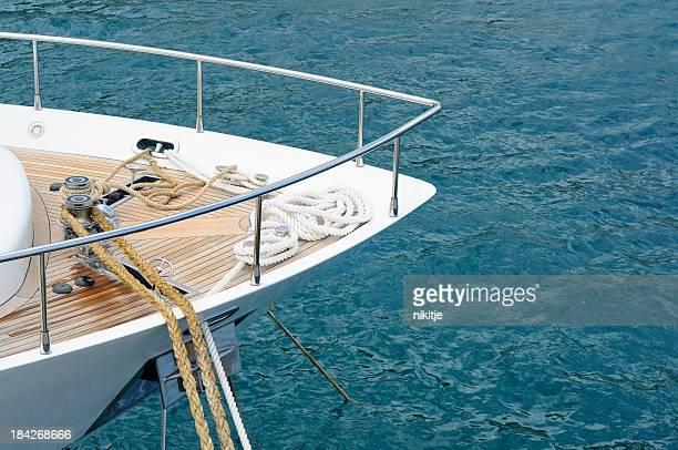 Moored motor yacht