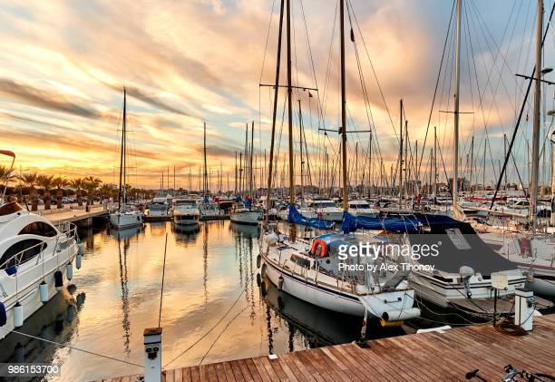 moored vessels in the port of torrevieja - alicante stock pictures, royalty-free photos & images