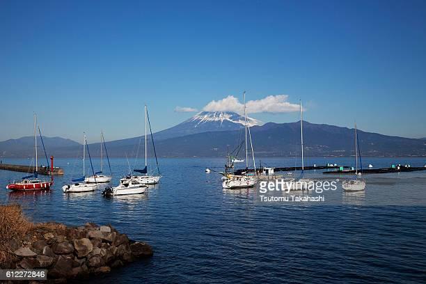 Moored yacht and Mt. Fuji, Shizuoka Prefecture, Honshu, Japan