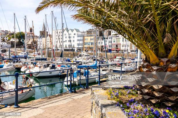 moored yachts in the harbour at st peter port, guernsey, channel islands uk - isola di guernsey foto e immagini stock