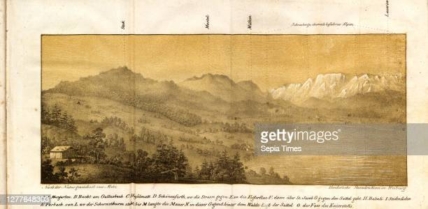 Moorgarten, Morgarten and Ägerisee in Canton Zug, signed: After the nature drawn by Moos, Fig. 1, according to p. 59, Moos , Franz Karl Stadlin: Der...