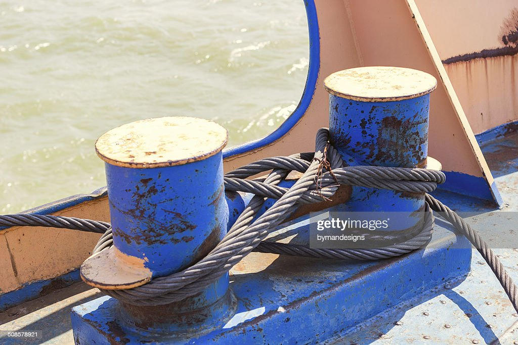 mooring bollard with wire ropes : Stock Photo