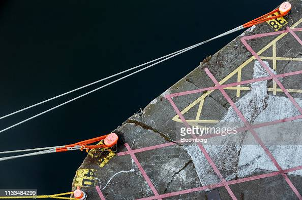Mooring lines secure a vessel to the quayside at Dublin Port in