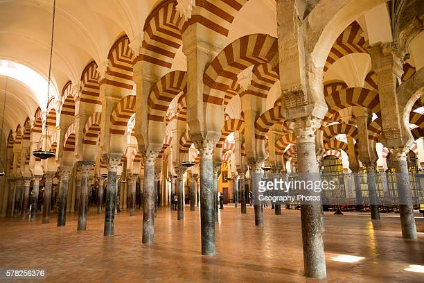 Moorish arches in the former mosque now cathedral Cordoba Spain