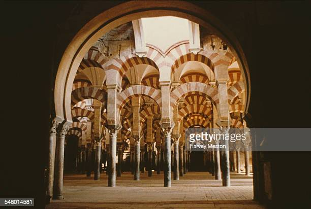 Moorish columns in the Mezquita the mosquecathedral of Cordoba Spain circa 1965