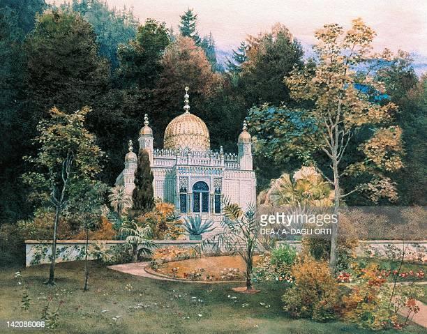 Moorish kiosk in the park of Linderhof Castle by Heinrich Breling Germany 19th Century