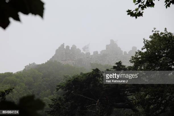 Moorish stone castle in mist, Sintra Portugal