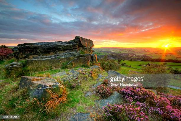 moorland sunset, west yorkshire - simon higginbottom stock pictures, royalty-free photos & images