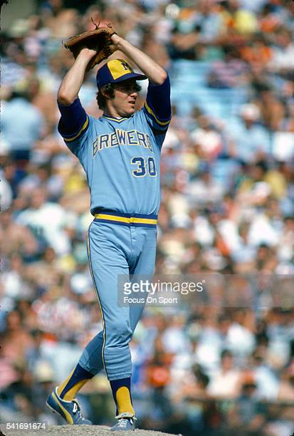 Moose Haas of the Milwaukee Brewers pitches against the Baltimore Orioles during an Major League Baseball game circa 1977 at Memorial Stadium in...
