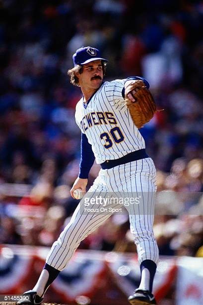 Moose Haas of the Milwaukee Brewers pitches during the World Series against the St Louis Cardinals at County Stadium in October 1982 in Milwaukee...