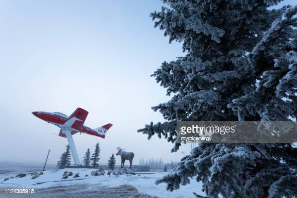moose jaw saskatchewan canada visitors center - fuselage stock photos and pictures