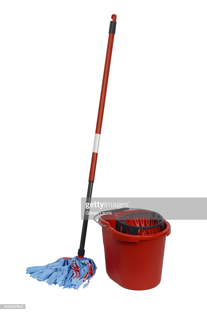 Mop And Bucket On A White Background Stock Photo Getty Images