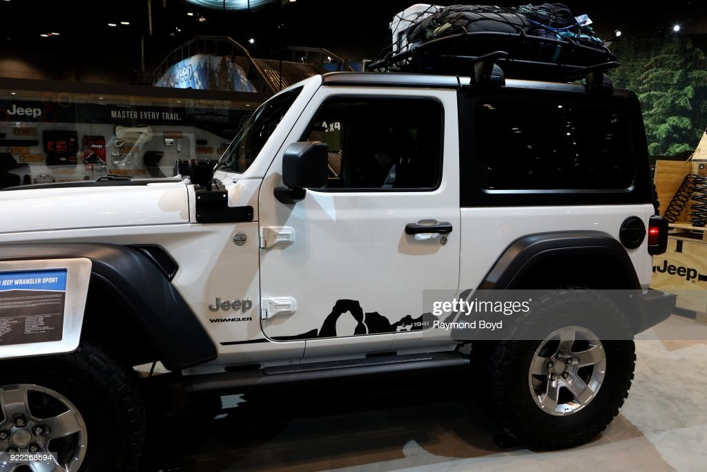 Mopar-Modified Jeep Wrangler Sport is on display at the 110th Annual Chicago Auto Show at McCormick Place in Chicago, Illinois on February 9, 2018.