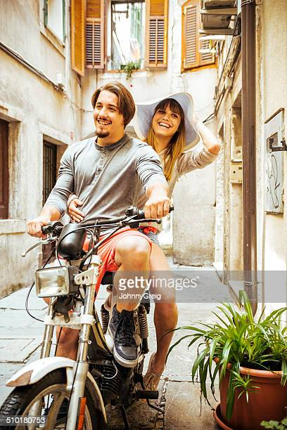 moped ride - moped stock photos and pictures