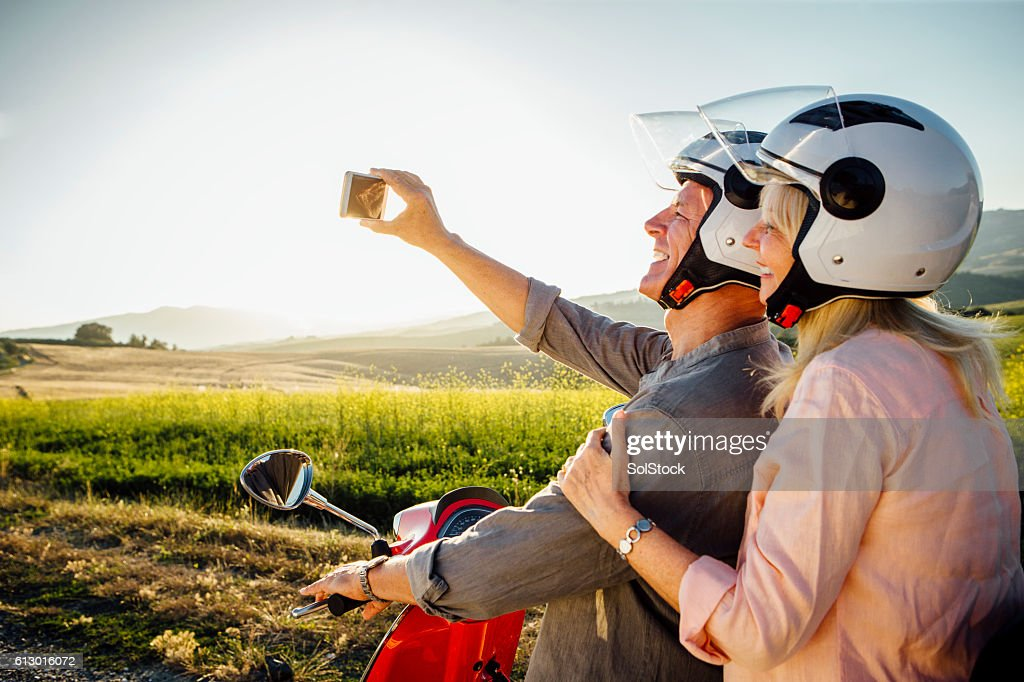 Moped Selfie : Stock Photo